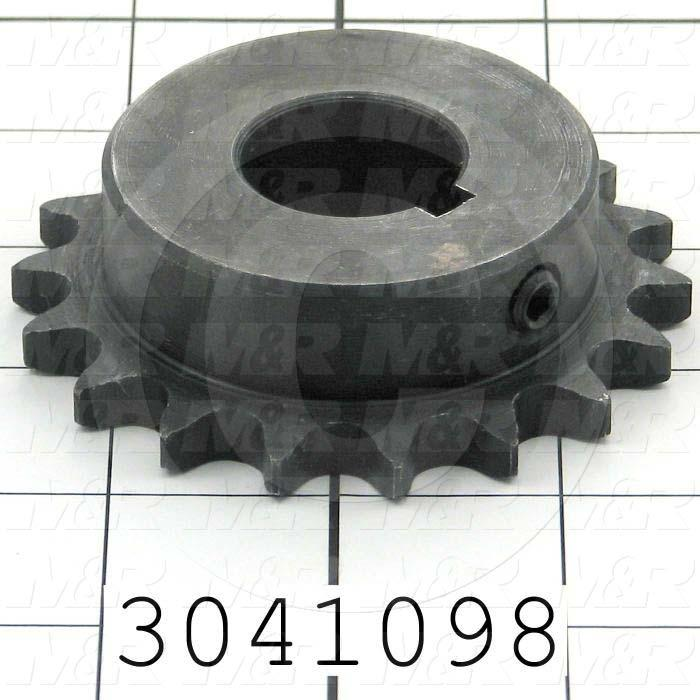 "Chain Sprocket, ANSI 40, B Sprocket Type, 1 in. Bore Size, 18 Teeth, Single Strand, 3.140"" Outside Diameter, 2.31"" Hub Diameter, 1.00"" Overall Length, Steel Material"