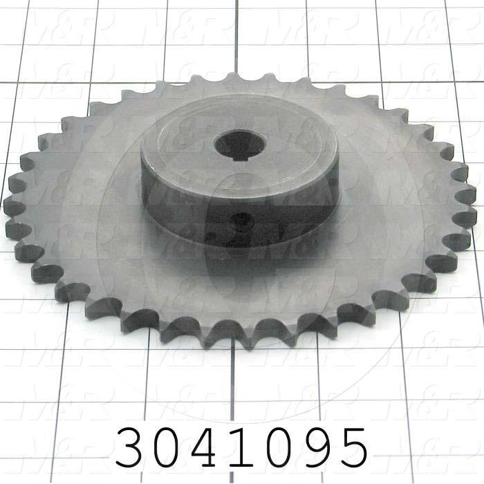 "Chain Sprocket, ANSI 40, B Sprocket Type, Cylindrical with Keyset, 0.63 in. Bore Size, 36 Teeth, 6.020"" Outside Diameter, 1 in. Overall Length, Steel Material, With 2 Setscrews"