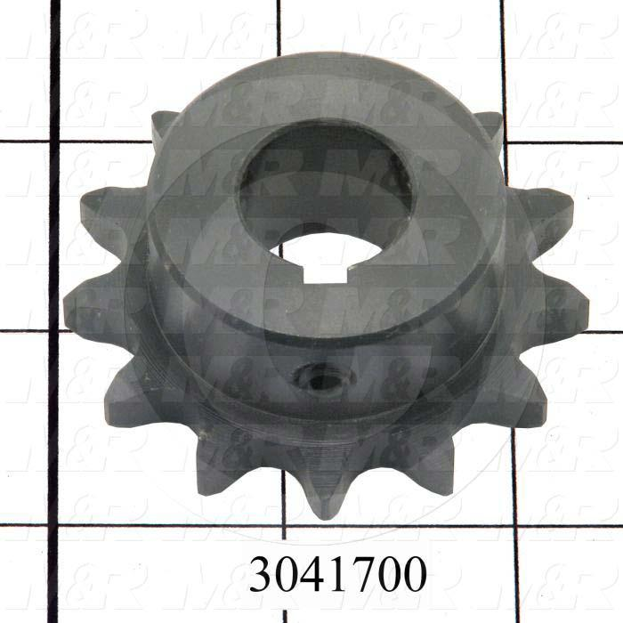 "Chain Sprocket, ANSI 40, B Sprocket Type, Cylindrical with Keyset, 0.75"" Bore Size, 13 Teeth, 2.330"" Outside Diameter, 0.875"" Overall Length, Steel Material, With 2 Setscrews"