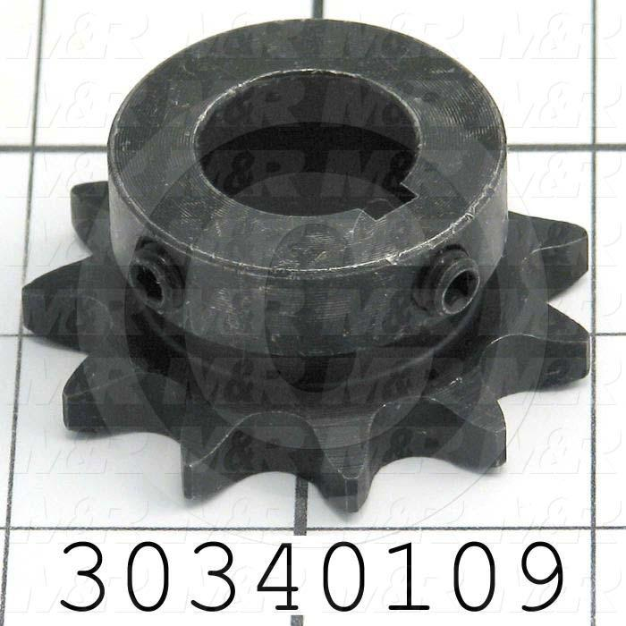 "Chain Sprocket, ANSI 40, B Sprocket Type, Cylindrical with Keyset, 0.75 in. Bore Size, 11 Teeth, 2.003"" Outside Diameter, Steel Material"