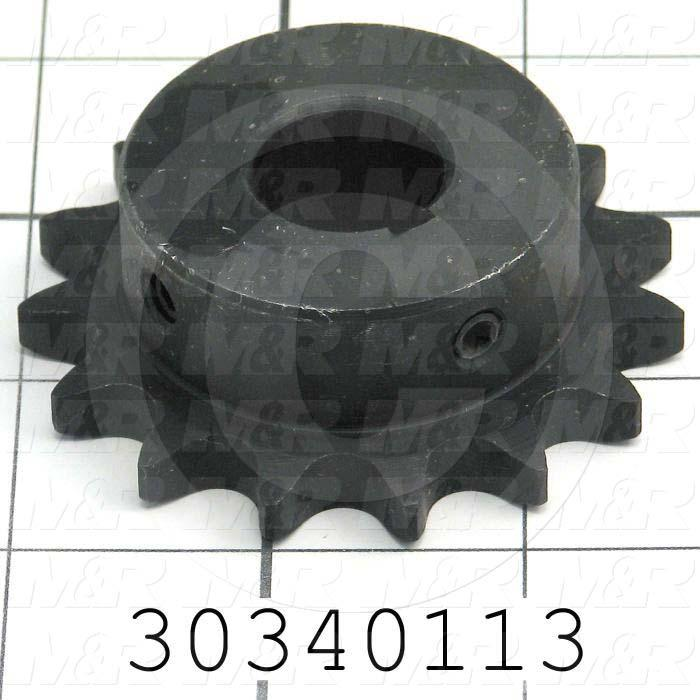 "Chain Sprocket, ANSI 40, B Sprocket Type, Cylindrical with Keyset, 0.75 in. Bore Size, 15 Teeth, 2.653"" Outside Diameter, Steel Material"