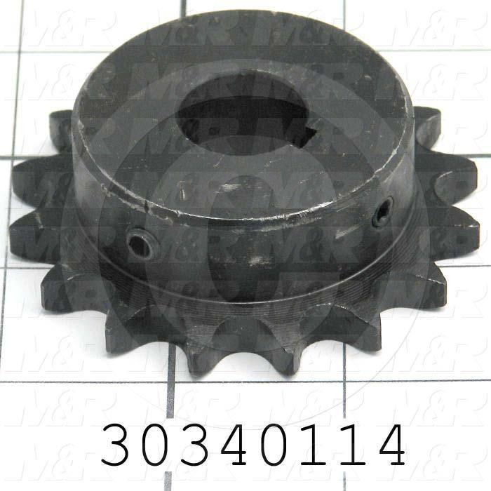 "Chain Sprocket, ANSI 40, B Sprocket Type, Cylindrical with Keyset, 0.75 in. Bore Size, 16 Teeth, 2.81"" Outside Diameter, Steel Material"