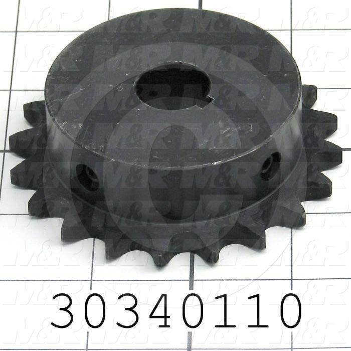 "Chain Sprocket, ANSI 40, B Sprocket Type, Cylindrical with Keyset, 0.75 in. Bore Size, 20 Teeth, 3.457"" Outside Diameter, Steel Material"