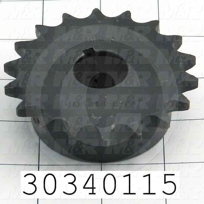 "Chain Sprocket, ANSI 40, B Sprocket Type, Cylindrical with Keyset, 7/8 in. Bore Size, 18 Teeth, 3.136"" Outside Diameter, Steel Material"