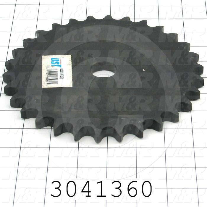 """Chain Sprocket, ANSI 60, A Sprocket Type, Cylindrical, 0.72"""" Bore Size, 30 Teeth, Single Strand, 7.59"""" Outside Diameter, 4.00"""" Hub Diameter, Steel Material"""