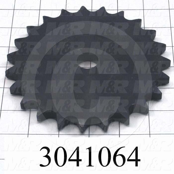 """Chain Sprocket, ANSI 60, A Sprocket Type, Cylindrical, 0.75 in. Bore Size, 23 Teeth, Single Strand, 5.51"""" Outside Diameter, Steel Material"""