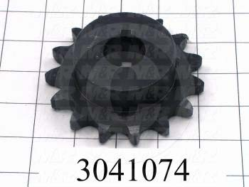 """Chain Sprocket, ANSI 60, B Sprocket Type, 1 in. Bore Size, 15 Teeth, Single Strand, 3.98 in. Outside Diameter, 2.88"""" Hub Diameter, 1.25 in. Overall Length, Steel Material"""