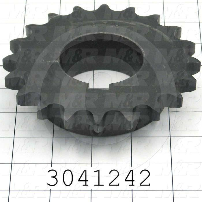 "Chain Sprocket, ANSI 60, B Sprocket Type, 2.19"" Bore Size, 20 Teeth, Single Strand, 5.19 in. Outside Diameter, 3.50"" Hub Diameter, 1.19"" Overall Length, Steel, Hardened Teeth Material"