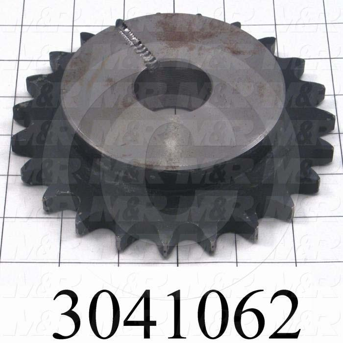 Chain Sprocket, ANSI 60, B Sprocket Type, Cylindrical, 0.75 in. Bore Size, 23 Teeth, Single Strand, Steel Material