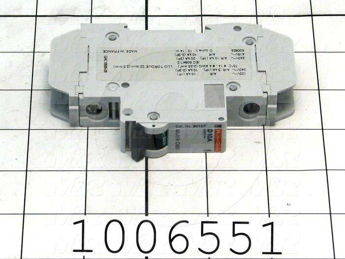 Circuit Breaker, 1 Pole, 10A, 240VAC, D Curve, UL 489 Listed