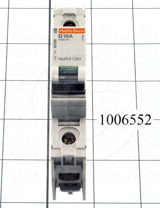 Circuit Breaker, 1 Pole, 15A, 240VAC, D Curve, UL 489 Listed