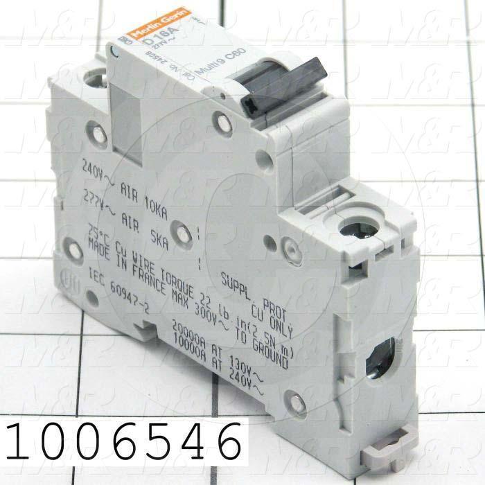Circuit Breaker, 1 Pole, 16A, 480VAC, D Curve, UL 1077