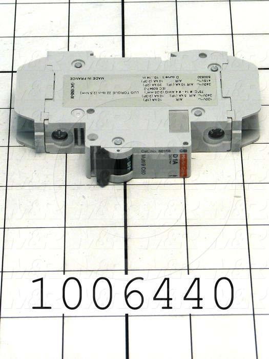 Circuit Breaker, 1 Pole, 1A, 240VAC, D Curve, UL 489 Listed
