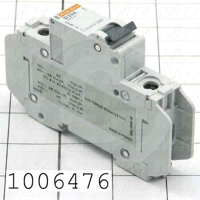 Circuit Breaker, 1 Pole, 25A, 240VAC, C Curve, UL 489 Listed