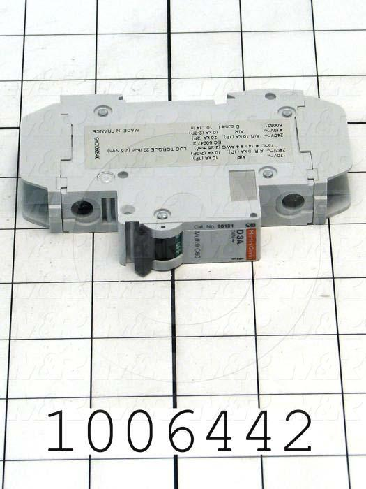 Circuit Breaker, 1 Pole, 3A, 240VAC, D Curve, UL 489 Listed