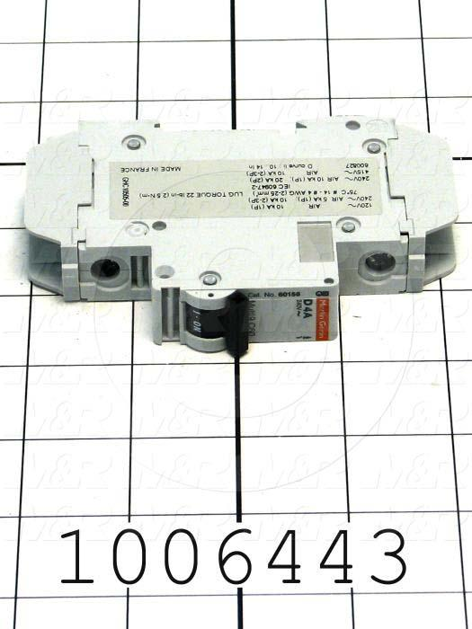 Circuit Breaker, 1 Pole, 4A, 240VAC, D Curve, UL 489 Listed