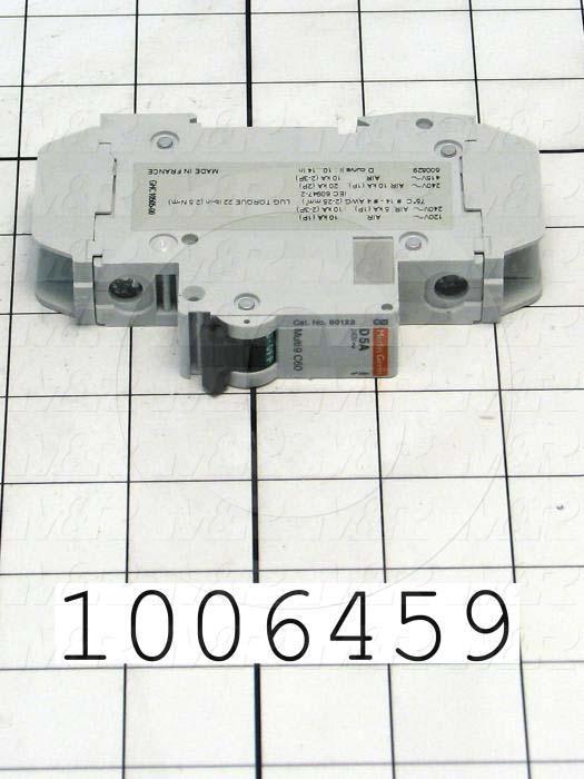 Circuit Breaker, 1 Pole, 5A, 240VAC, D Curve, UL 489 Listed