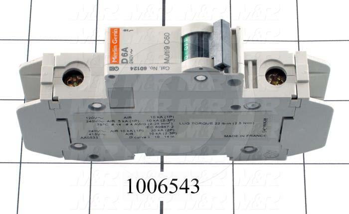Circuit Breaker, 1 Pole, 6A, 240VAC, D Curve, UL 489 Listed
