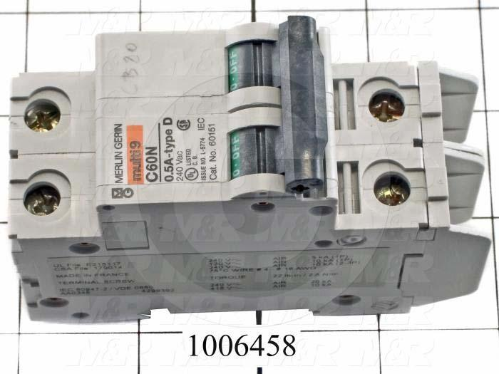Circuit Breaker, 2 Poles, 0.5A, 240VAC, D Curve, UL 489 Listed