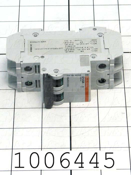 Circuit Breaker, 2 Poles, 1.5A, 240VAC, D Curve, UL 489 Listed