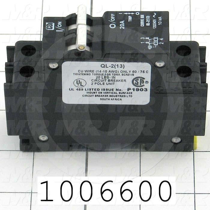 Circuit Breaker, 2 Poles, 20A, 240VAC, D Curve, UL 489 Listed