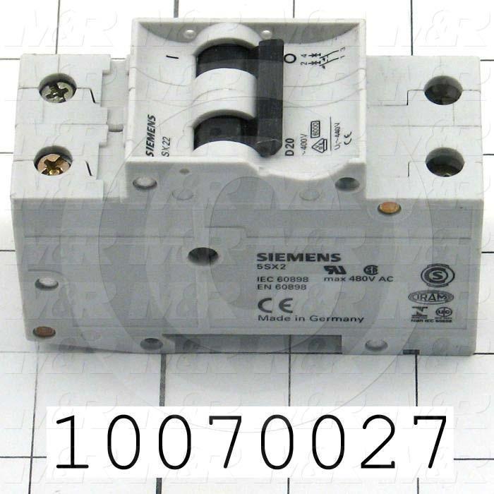 Circuit Breaker, 2 Poles, 20A, D Curve