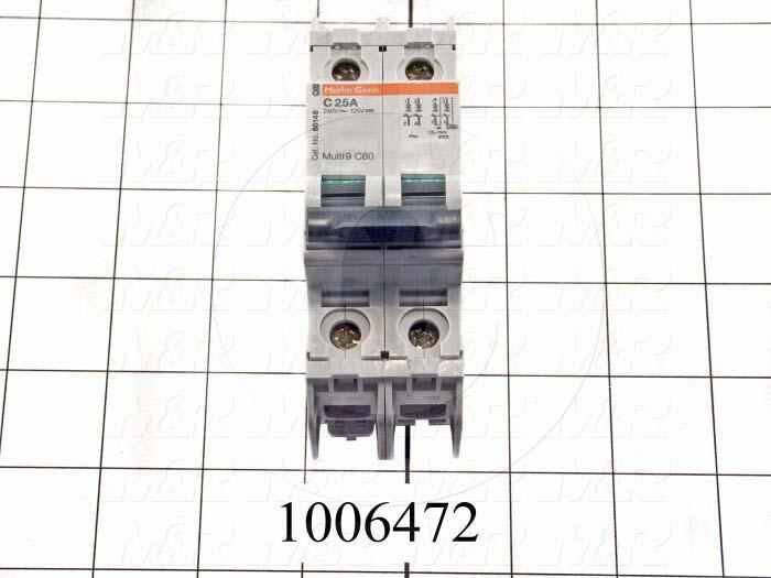 Circuit Breaker, 2 Poles, 25A, 240VAC, C Curve, UL 489 Listed