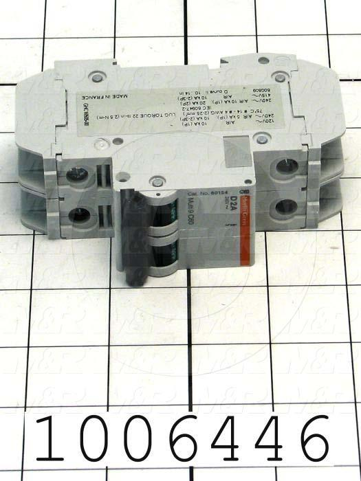 Circuit Breaker, 2 Poles, 2A, 240VAC, D Curve, UL 489 Listed