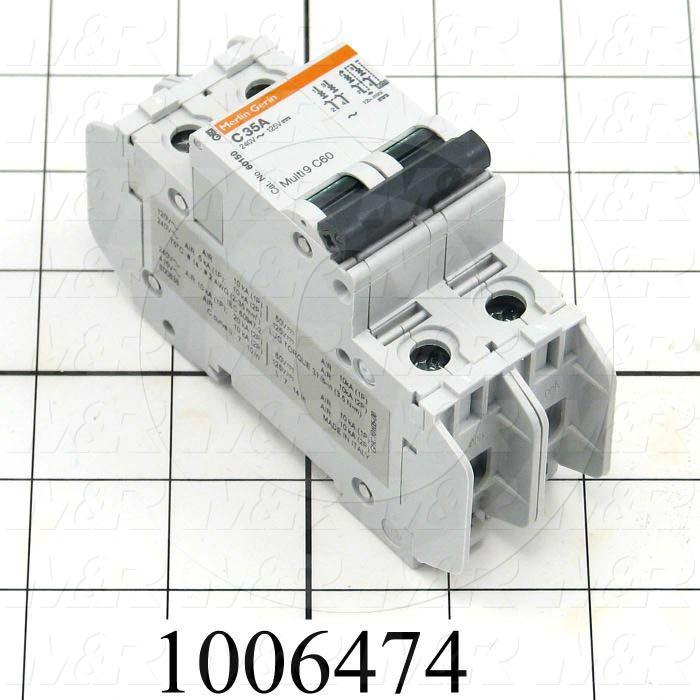 Circuit Breaker, 2 Poles, 35A, 240VAC, C Curve, UL 489 Listed