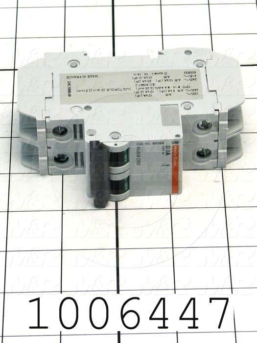 Circuit Breaker, 2 Poles, 3A, 240VAC, D Curve, UL 489 Listed