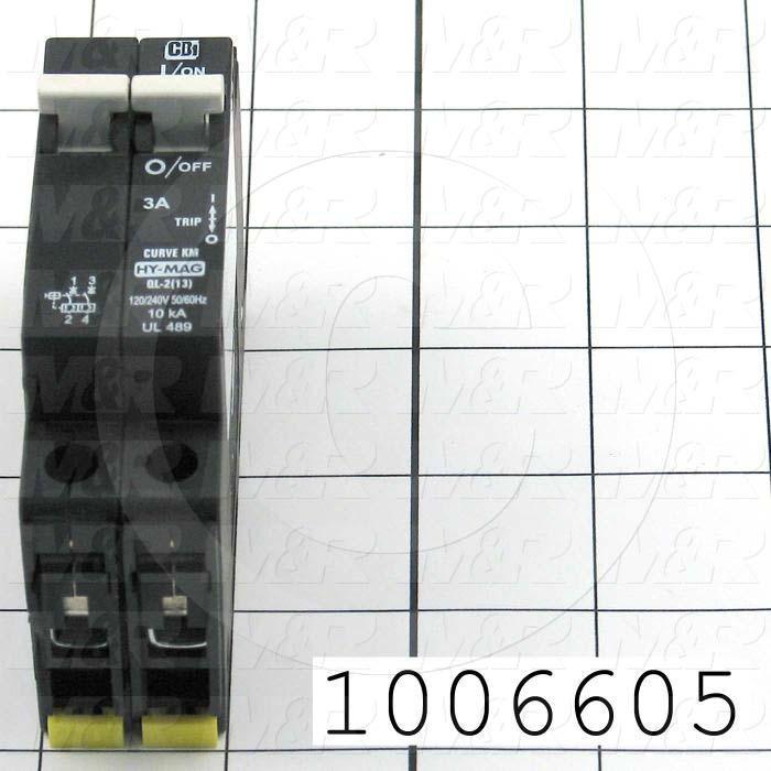Circuit Breaker, 2 Poles, 3A, 240VAC, D Curve, UL 489 Listed