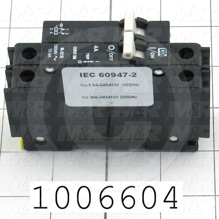Circuit Breaker, 2 Poles, 4A, 240VAC, D Curve, UL 489 Listed