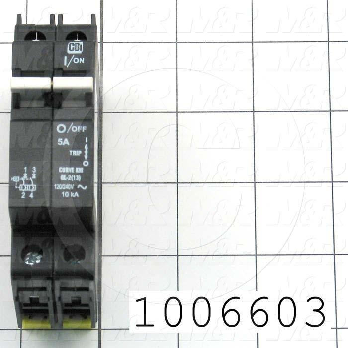 Circuit Breaker, 2 Poles, 5A, 240VAC, D Curve, UL 489 Listed
