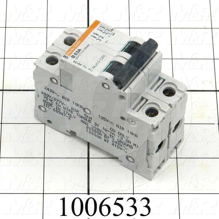 Circuit Breaker, 2 Poles, 63A, 480VAC, B Curve, UL 1077