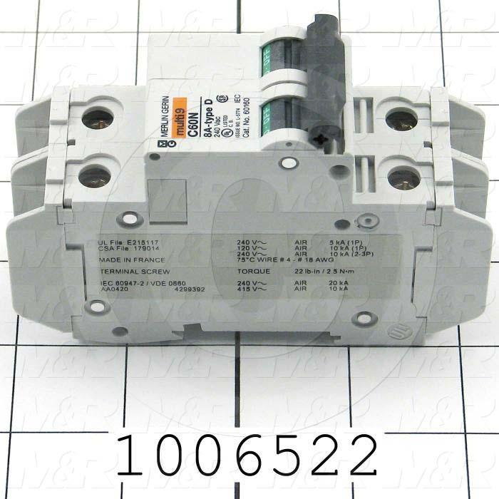 Circuit Breaker, 2 Poles, 8A, 240VAC, D Curve, UL 489 Listed