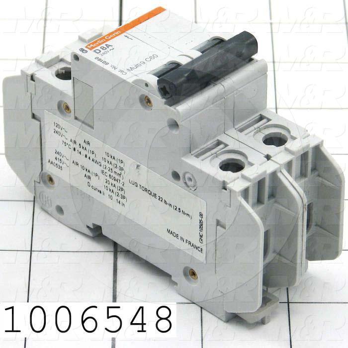 Circuit Breaker, 2 Poles, 8A, 480VAC, D Curve, UL 1077