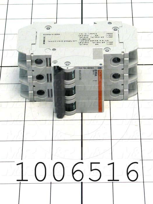 Circuit Breaker, 3 Poles, 10A, 240VAC, D Curve, UL 489 Listed