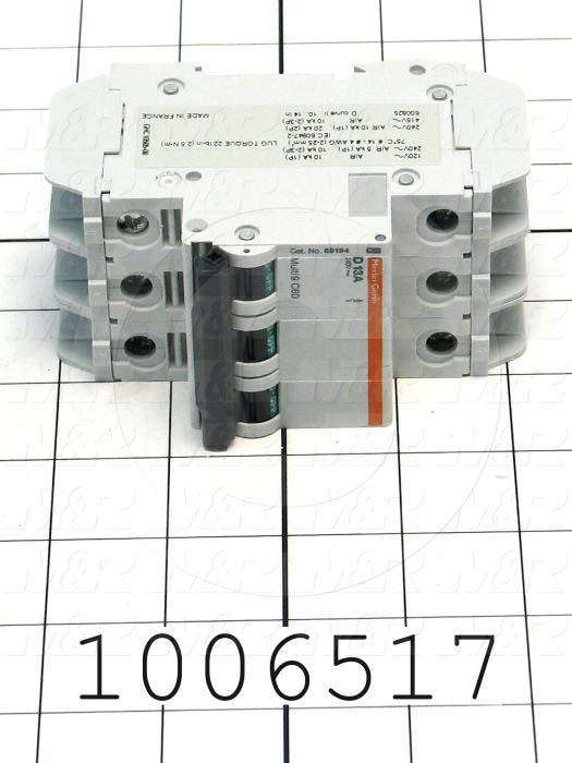 Circuit Breaker, 3 Poles, 13A, 240VAC, D Curve, UL 489 Listed