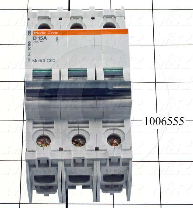 Circuit Breaker, 3 Poles, 15A, 240VAC, D Curve, UL 489 Listed