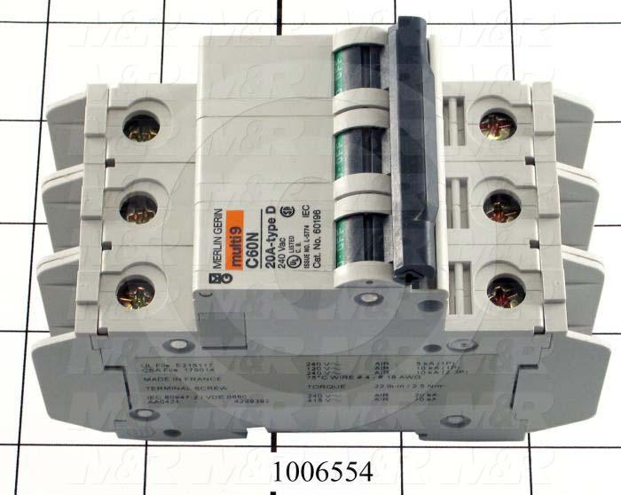Circuit Breaker, 3 Poles, 20A, 240VAC, D Curve, UL 489 Listed