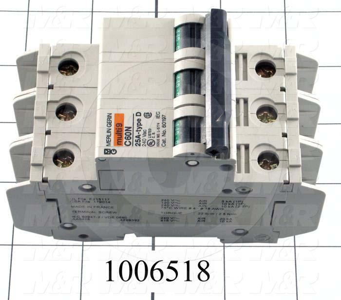 Circuit Breaker, 3 Poles, 25A, 240VAC, D Curve, UL 489 Listed