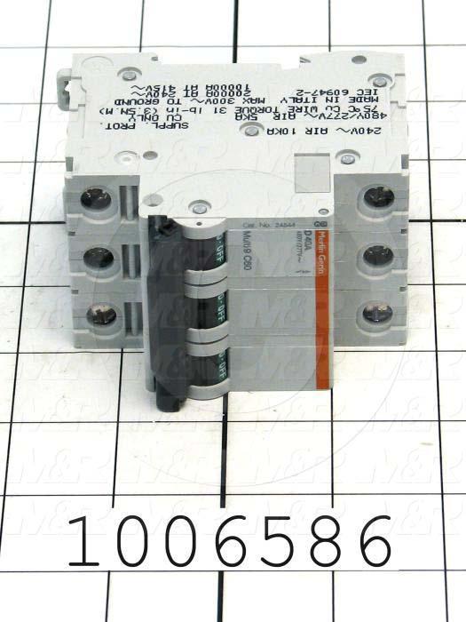 Circuit Breaker, 3 Poles, 40A, 480VAC, D Curve, UL 1077