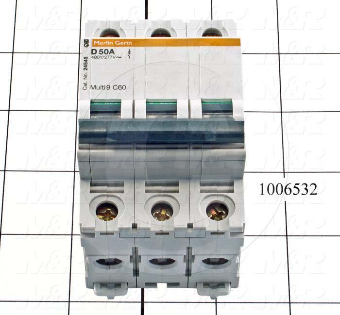 Circuit Breaker, 3 Poles, 50A, 480VAC, D Curve, UL 1077