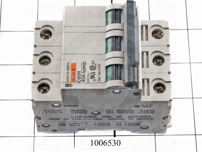 Circuit Breaker, 3 Poles, 63A, 480VAC, D Curve, UL 1077