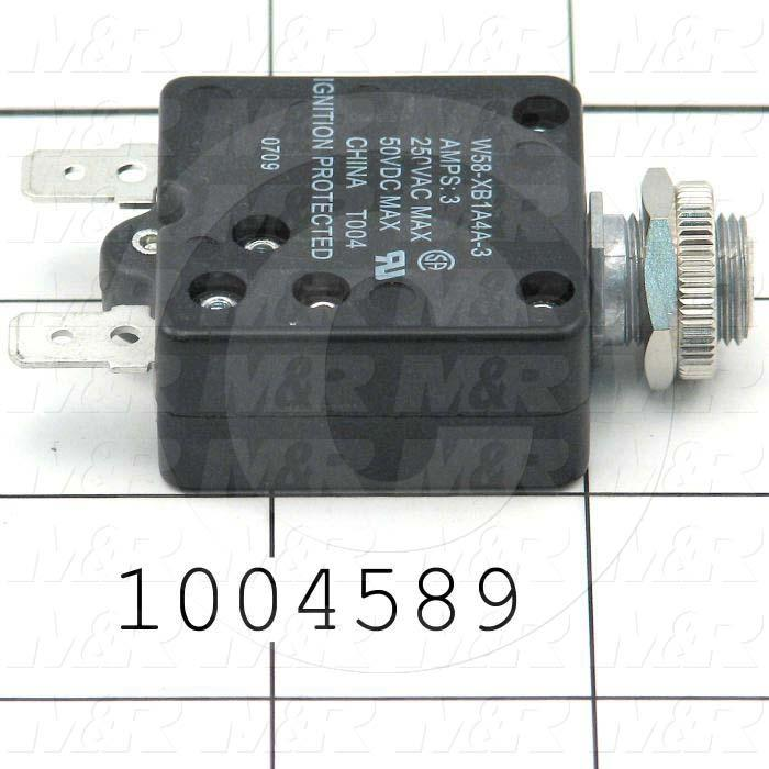 Circuit Breaker, Thermal, 1 Pole, 3A, 220VAC