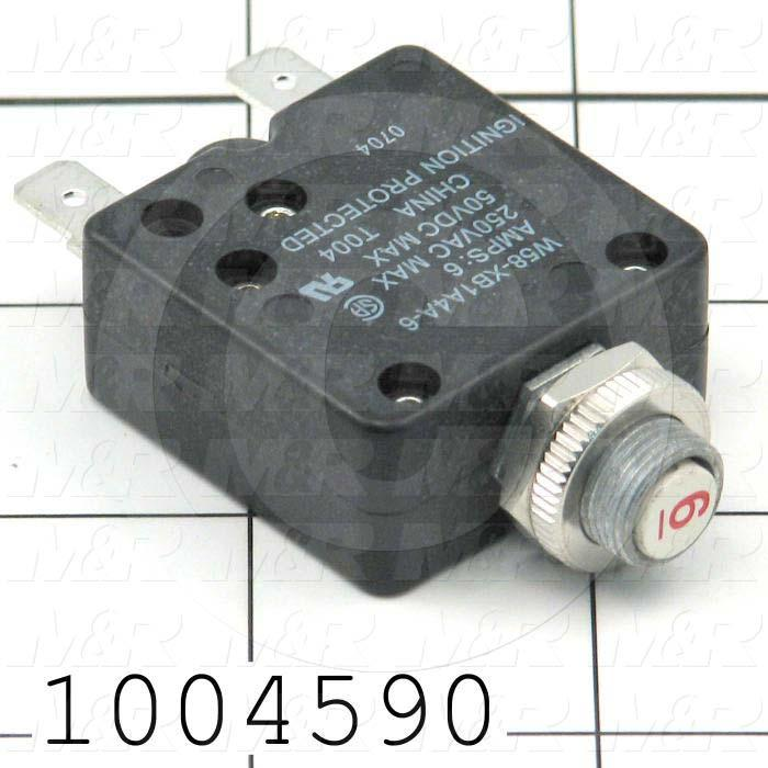 Circuit Breaker, Thermal, 1 Pole, 6A, 220VAC