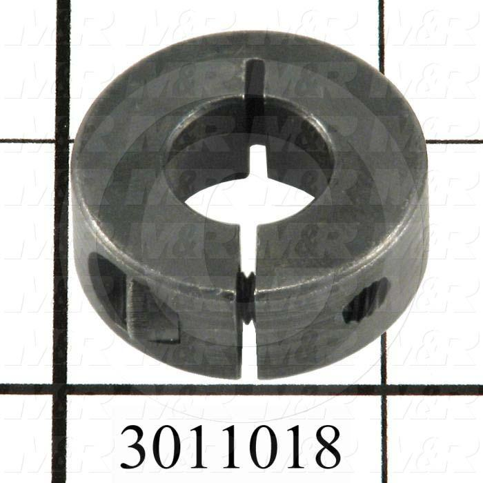 "Collar, One-Piece Clamp-On Type, 0.50"" Bore Size, 1.50 in. Outside Diameter, 0.500"" Width, Steel"