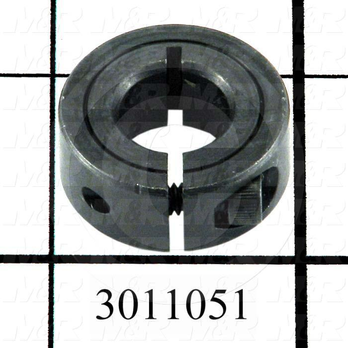 "Collar, One-Piece Clamp-On Type, 7/16"" Bore Size, 1.06 in. Outside Diameter, 0.312"" Width, Steel"