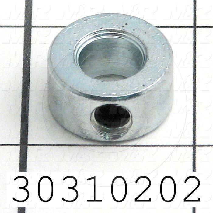 "Collar, One-Piece Set Screw Type, 0.38"" Bore Size, 0.75 in. Outside Diameter, 0.375 in. Width, Steel, Finish Zinc Plated"