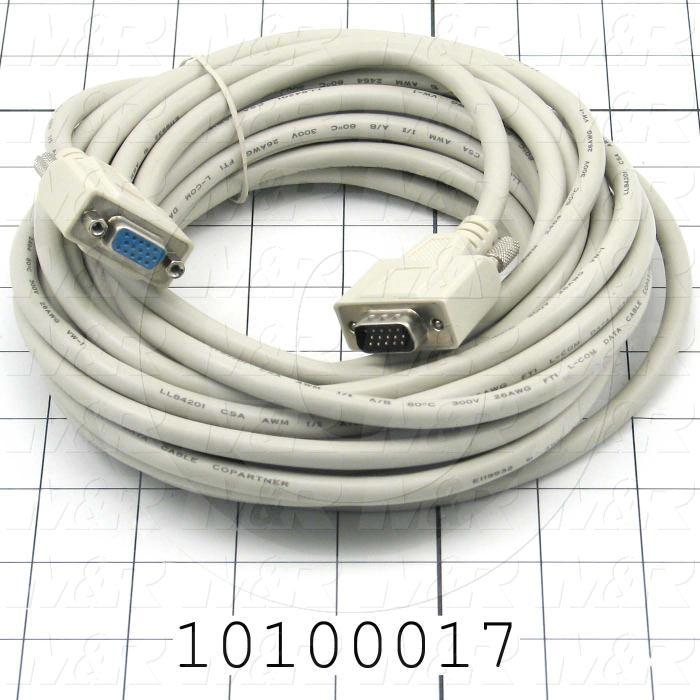 Communication Cable, MINI DIN 8, 25', D-Sub HD15 Male, To Female